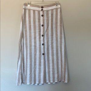 H&M linen blend striped button down skirt Sz 6 NWT